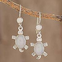 Lilac jade dangle earrings, 'Marine Turtles' - Lilac jade dangle earrings