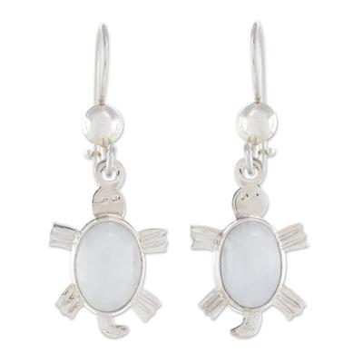 Lilac jade dangle earrings, 'Marine Turtles' - Lilac jade dangle earrings