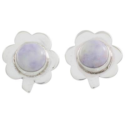 Jade button earrings