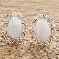 Jade button earrings, 'Lilac Princess of the Forest' - Floral Sterling Silver Button Jade Earrings
