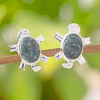 Jade button earrings, 'Marine Turtles' - Sterling Silver and Jade Central American Turtle Earrings