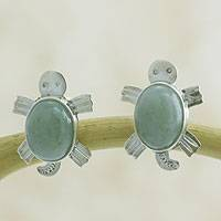 Light green jade button earrings, 'Marine Turtles' - Light green jade button earrings