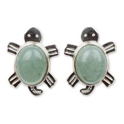 Light green jade button earrings, 'Marine Turtles' - Light green jade button earrings