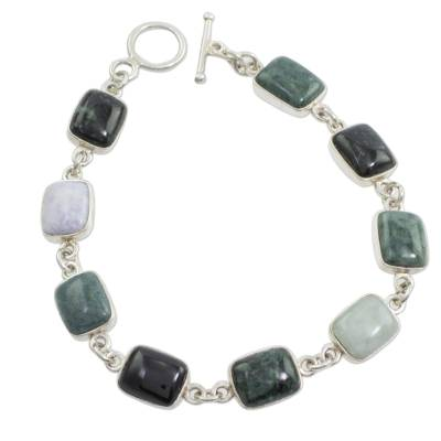 Jade link bracelet, 'Ya'ax Chich Colors' - Jade link bracelet