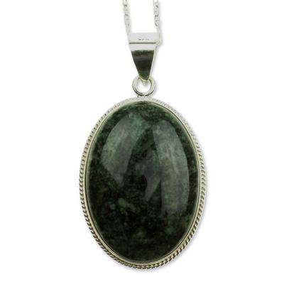 Jade pendant necklace, 'Dark Green Mystique' - Jade pendant necklace