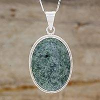Jade pendant necklace, 'Green Mystique' - Jade pendant necklace