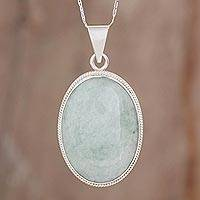 Reversible jade pendant necklace, 'Light Green Mystique'