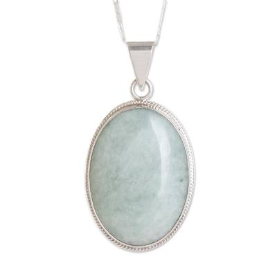 Reversible jade pendant necklace, 'Light Green Mystique' - Jade pendant necklace