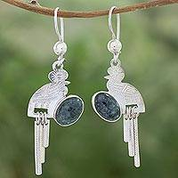 Jade dangle earrings, 'Quetzal Flight'