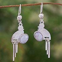 Lilac jade dangle earrings, 'Quetzal Flight' - Lilac jade dangle earrings