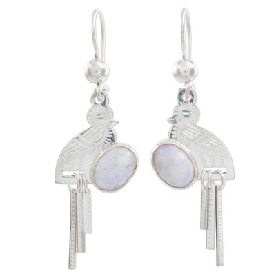 Lilac jade dangle earrings, 'Quetzal Flight' - Lilac jade dangle earrings