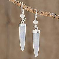 Lilac jade dangle earrings, 'Forest Cat' - Artisan Crafted Lilac Jade Dangle Earrings