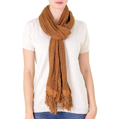 Cotton scarf, 'Honey Lattice' - Unique Handwoven Cotton Scarf