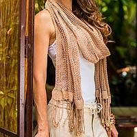Cotton scarf, 'Butterscotch Lattice' - Cotton scarf