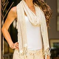 Cotton scarf, 'Ivory Lattice' - Hand Made Natural Cotton Scarf