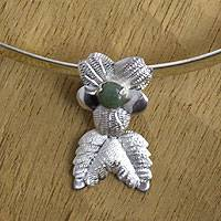 Jade flower necklace, 'Coban Bloom' - Jade flower necklace