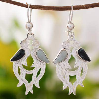 Jade dangle earrings, 'Quetzal In Love' - Jade dangle earrings