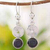 Black jade dangle earrings, 'Spiral of Life' - Black Jade Dangle Earrings from Guatemala
