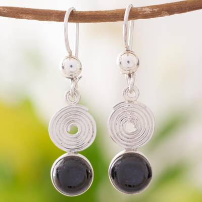 Black jade dangle earrings, 'Spiral of Life' - Black jade dangle earrings