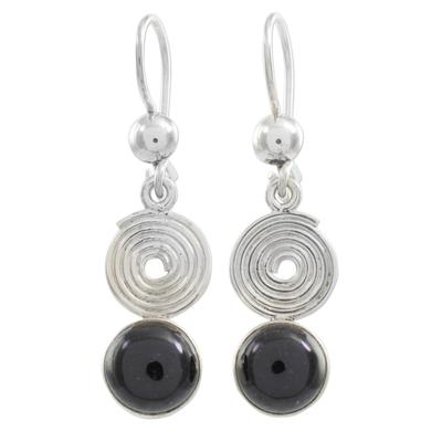 Black jade dangle earrings, 'Spiral of Life' - Black Jade Dangle Earrings from Guatemala