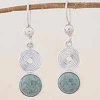 Light green jade dangle earrings, 'Spiral of Life' - Light green jade dangle earrings