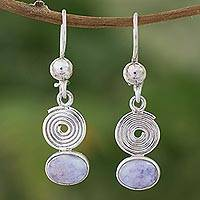 Lilac jade dangle earrings, 'Spiral of Life' - Lilac jade dangle earrings