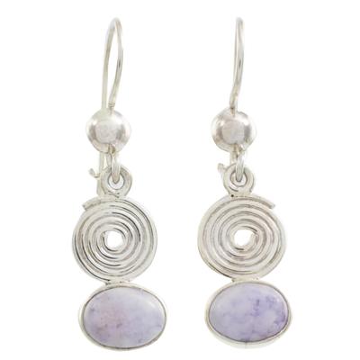 Lilac jade dangle earrings, 'Spiral of Life' - Lilac jade dangle earrings