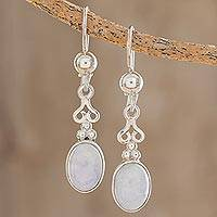 Lilac jade dangle earrings, 'Love Poem'