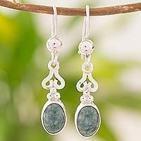 Jade dangle earrings, 'Love Poem'