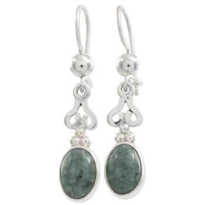 Jade dangle earrings, 'Love Poem' - Jade dangle earrings