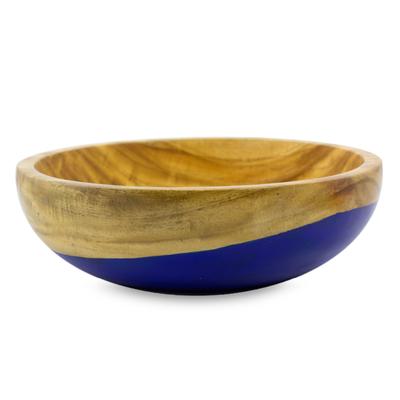 Wood bowl, 'Spicy Blue' (medium) - Dip Painted Hand Carved Wood Bowl (Medium)