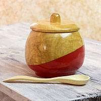 Wood sugar bowl, 'Sweet Red' - Dip Painted Hand Carved Wood Sugar Bowl