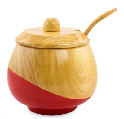 Wood sugar bowl, 'Sweet Red' - Dip Painted Hand Carved Wood Sugar Bowl