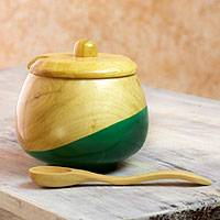 Wood sugar bowl, 'Sweet Green' - Dip Painted Hand Carved Wood Sugar Bowl