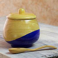 Wood sugar bowl, 'Sweet Blue' - Dip Painted Hand Carved Wood Sugar Bowl