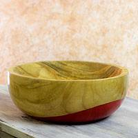 Wood bowl, 'Spicy Red' (large) - Dip Painted Hand Carved Wood Bowl (large)