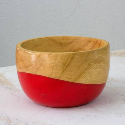 Wood bowl, 'Spicy Red' (small) - Dip Painted Hand Carved Wood Bowl (Small)