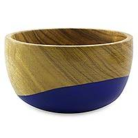 Wood bowl, 'Spicy Blue' (small)