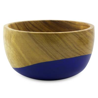 Wood bowl, 'Spicy Blue' (small) - Dip Painted Hand Carved Wood Bowl (Small)