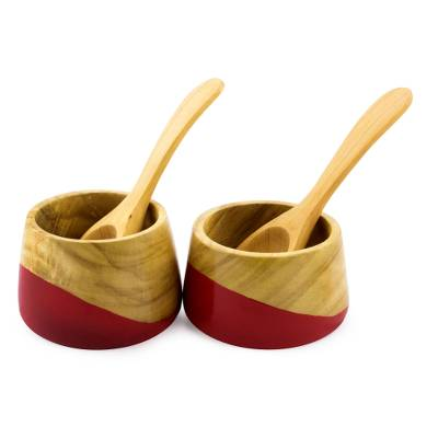 Wood salsa bowls, 'Spicy Red' (pair) - Salsa Bowls and Spoons Hand Crafted (pair)