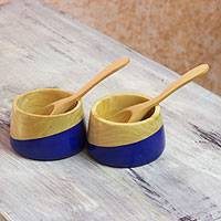Wood salsa bowls, 'Spicy Blue' (pair) - Carved Wood Condiment Bowls in Cobalt