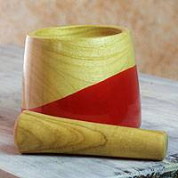 Wood mortar and pestle, 'Spicy Red'