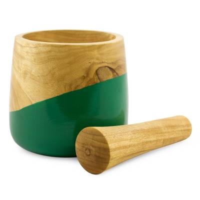 Wood mortar and pestle, 'Spicy Green' - Dip Painted Hand Carved Wood Mortar