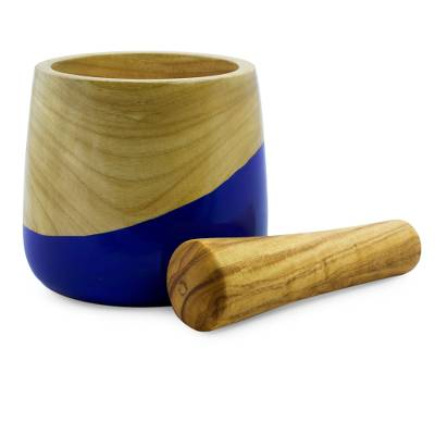 Wood mortar and pestle, 'Spicy Blue' - Dip Painted Hand Carved Wood Mortar