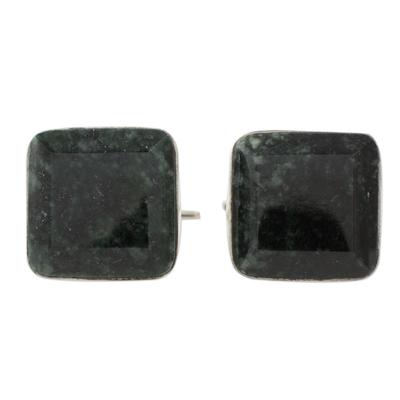 Jade cufflinks, 'Maya Minimalist' - Jade cufflinks