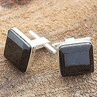 Black jade cufflinks, 'Maya Minimalist' - Black jade cufflinks