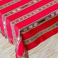 Cotton tablecloth, 'Crimson Joy' - Cotton tablecloth
