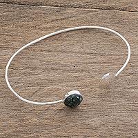 Jade cuff bracelet, 'Full Moon' - Jade cuff bracelet