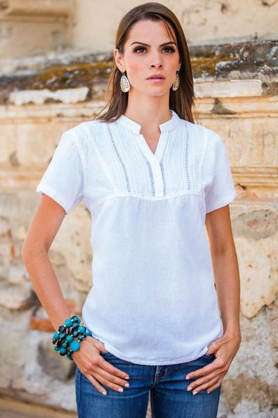 Cotton tunic, 'Fresh Floral White' - Cotton tunic