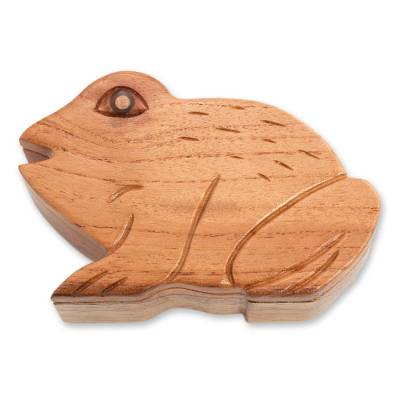 Mahogany decorative box, 'Lucky Frog' - Mahogany Wood Frog Decorative Artisan Made Box